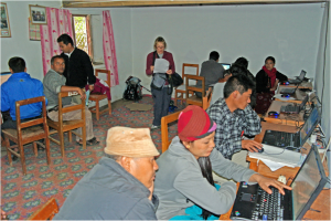 Teaching computers to Shree Durga teachers, September 2011