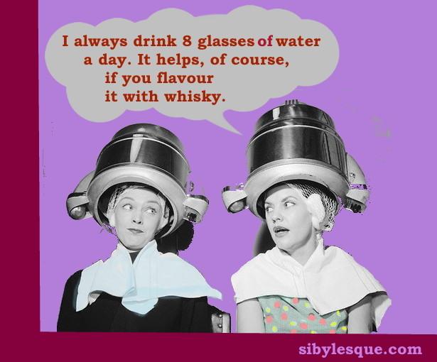 8 glasses a day women under hairdryer pinterest