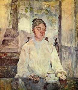 Henri de Toulouse-Lautrec portrait of his mother,  Countess Adele Zoe de Toulouse Lautrec, 1883. She was  42 years old.