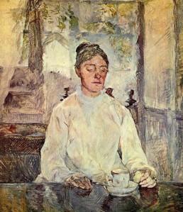 Henri de Toulouse-Lautrec portrait of his mother,  Countess Adele Zoe de Toulouse Lautrec, 1883. She was  42 years old.
