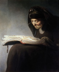Rembrandt's Mother Reading (c. 1629) when she was 60 years old