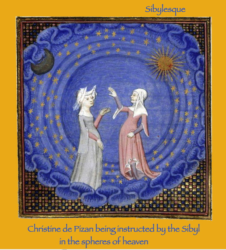 Sibylesque Christine de Pizan being instructed by the Sibyl in the spheres of heaven